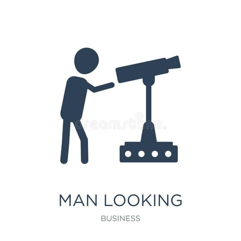hombre que mira el icono en estilo de moda del diseño hombre que mira el icono aislado en el fondo blanco hombre que mira el icon stock de ilustración