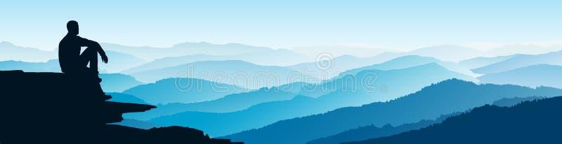Hombre que mira en los mountians Paisaje plano de la monta?a Ma?ana en las monta?as Turismo y el viajar ilustración del vector