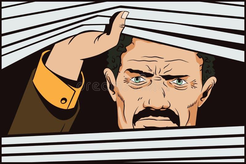 Hombre que mira hacia fuera ventanas Ilustración común stock de ilustración