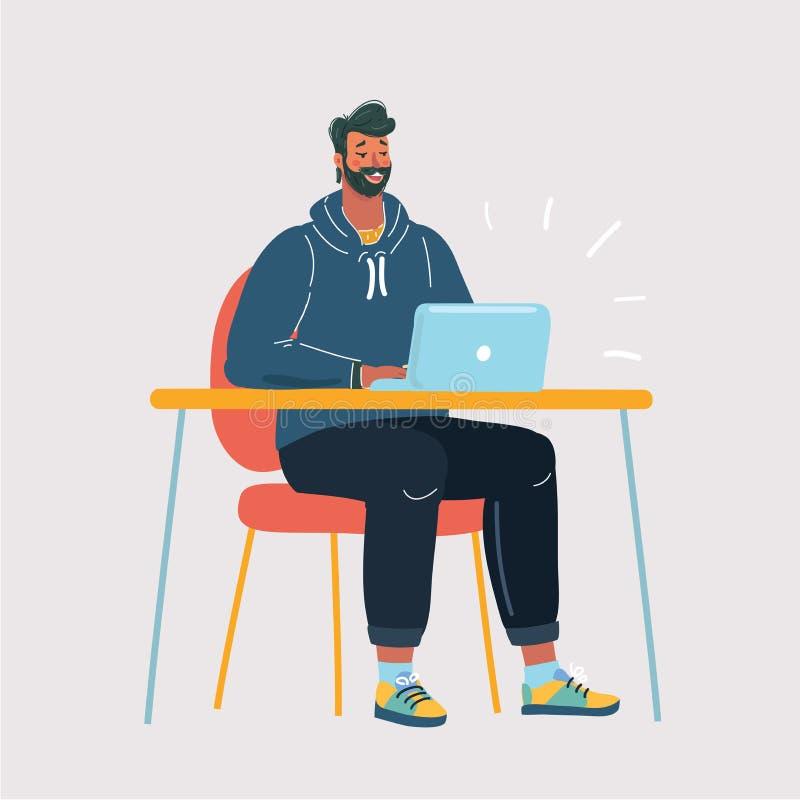 Hombre que mira la exhibición del ordenador portátil stock de ilustración