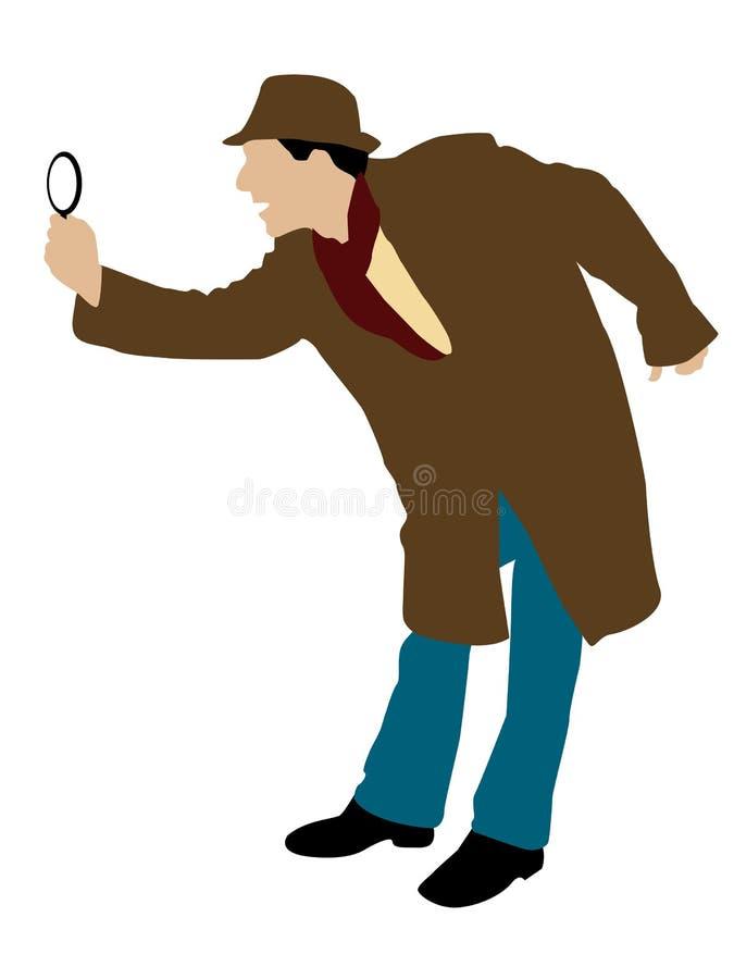 Hombre que mira a través de la lupa libre illustration