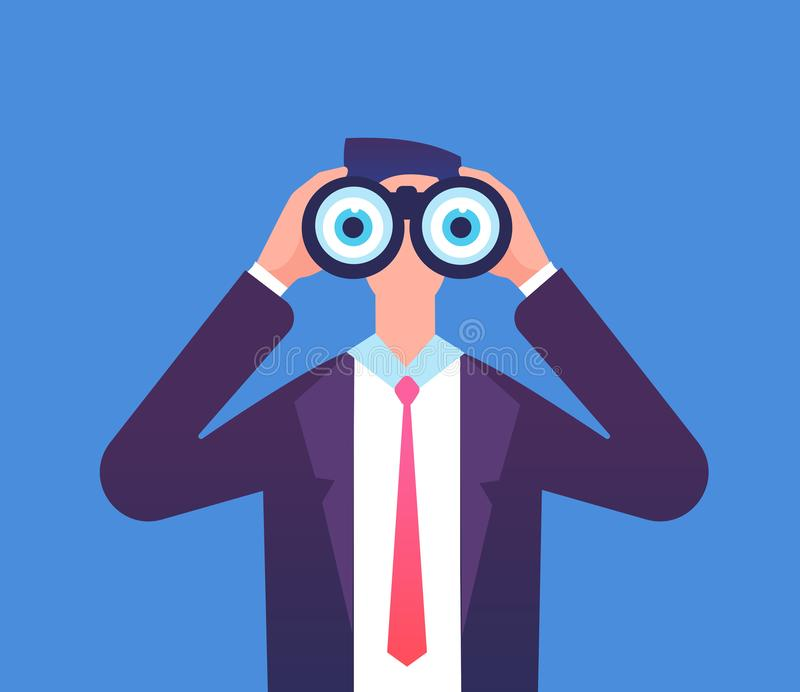 Hombre que mira a través de los prismáticos Estamos empleando, estamos reclutando y estamos negocio viendo concepto del vector libre illustration