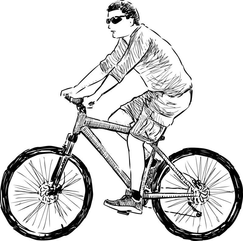 Hombre que monta un ciclo stock de ilustración