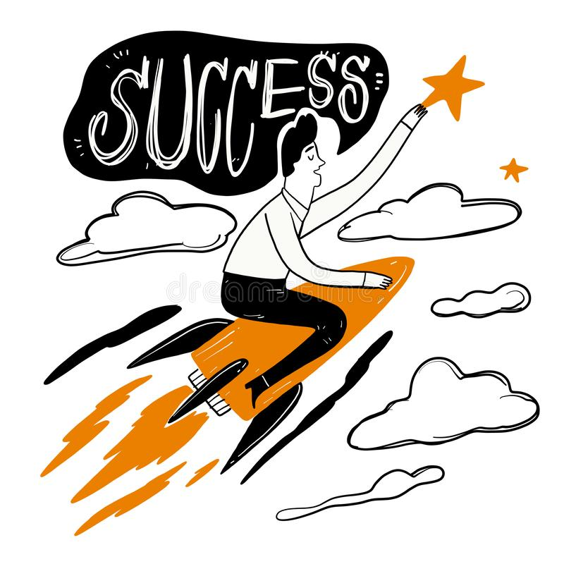Hombre que monta un cohete a través de las nubes a la velocidad para asir las estrellas stock de ilustración