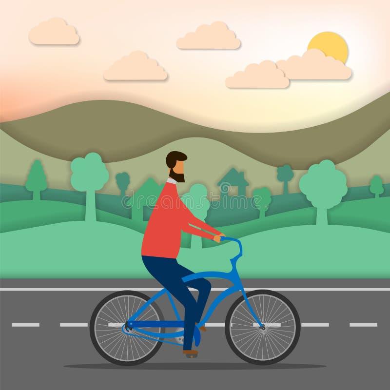 Hombre que monta una bici aislada en el fondo blanco Ilustraci?n del vector libre illustration