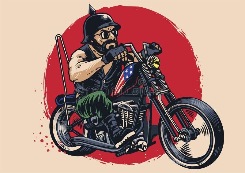 Hombre que monta una motocicleta del interruptor ilustración del vector