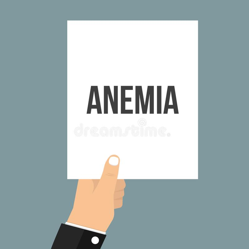 Hombre que muestra el texto de papel de la ANEMIA libre illustration