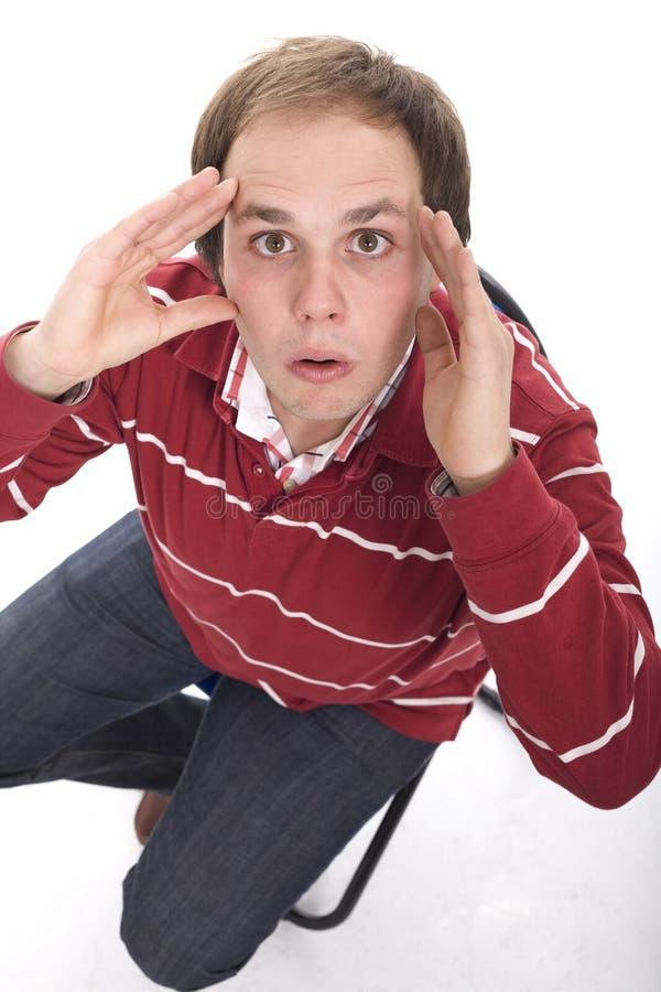 Hombre que parece sorprendido foto de archivo libre de regalías