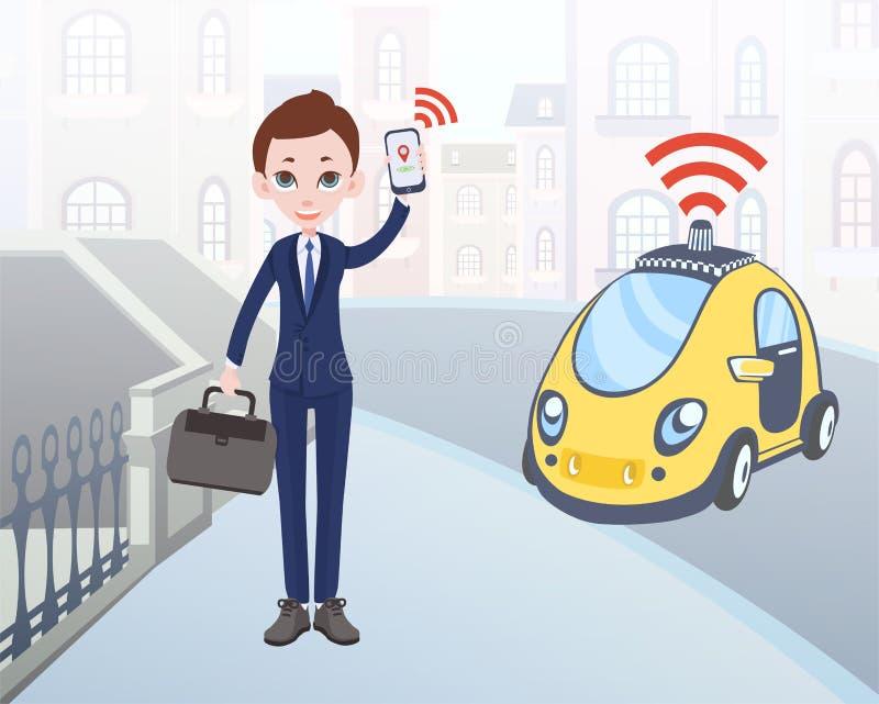 Hombre que pide el taxi driverless usando la aplicación móvil Carácter del hombre de negocios de la historieta con smartphone y c ilustración del vector
