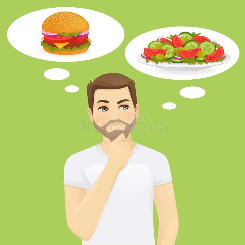 Hombre que piensa en la comida ilustración del vector