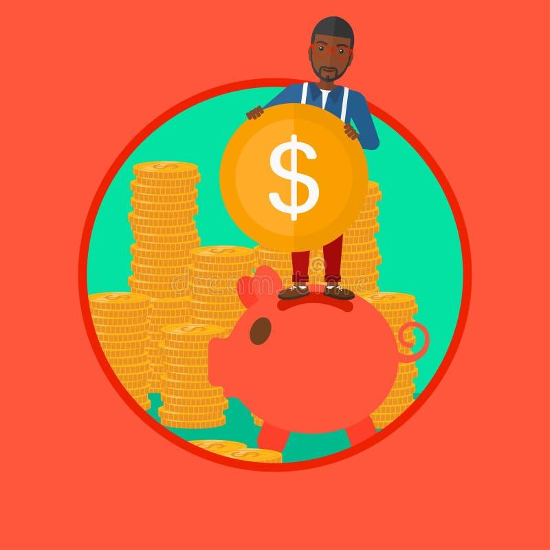 Hombre que pone la moneda en el ejemplo del vector de la hucha ilustración del vector