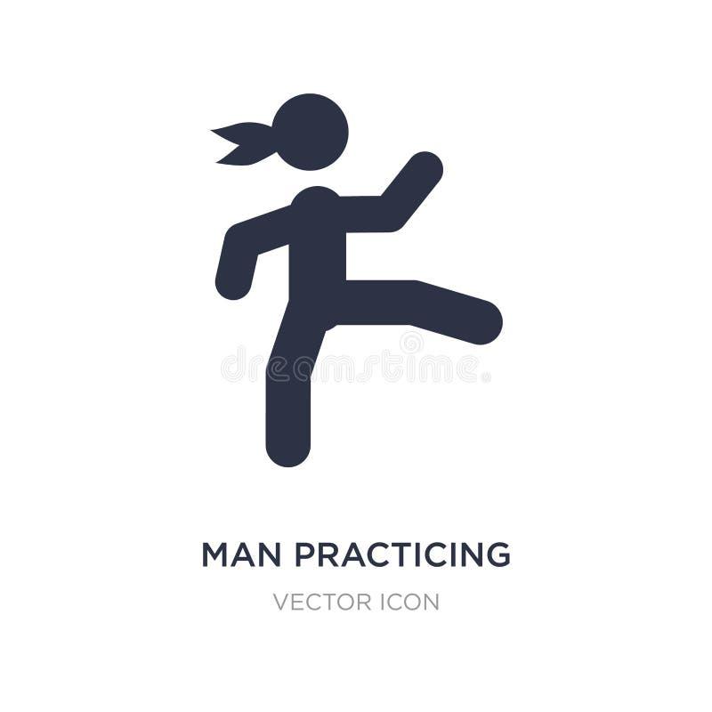 hombre que practica el icono de los artes marciales en el fondo blanco Ejemplo simple del elemento del concepto de los deportes stock de ilustración