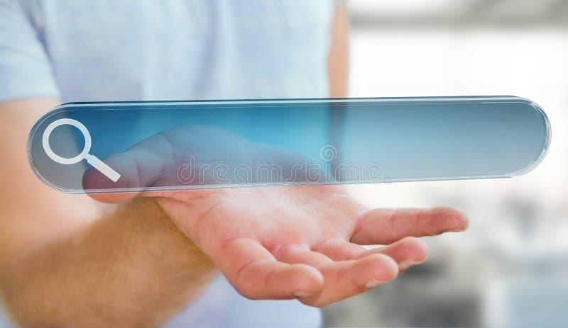 Hombre que practica surf en Internet usando renderi táctil de la barra 3D de la dirección del web stock de ilustración