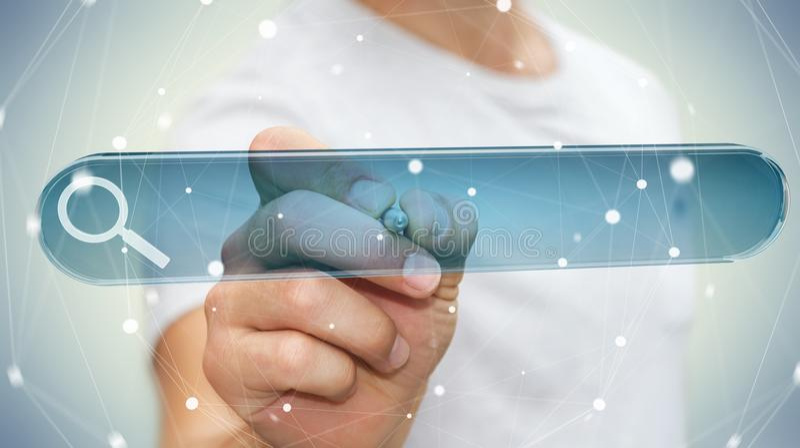 Hombre que practica surf en Internet usando renderi táctil de la barra 3D de la dirección del web libre illustration