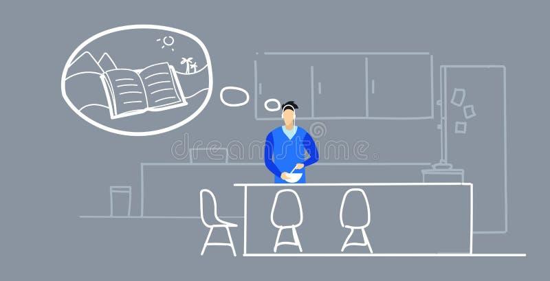 Hombre que prepara el libro audio que escucha del individuo de la comida a través de los auriculares durante cocinar en carácter  ilustración del vector