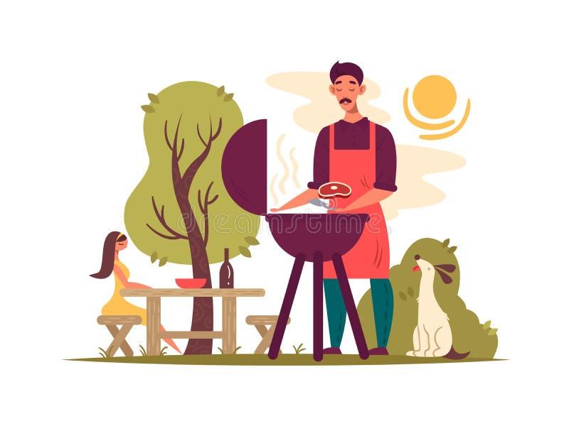 Hombre que prepara la barbacoa en parrilla libre illustration