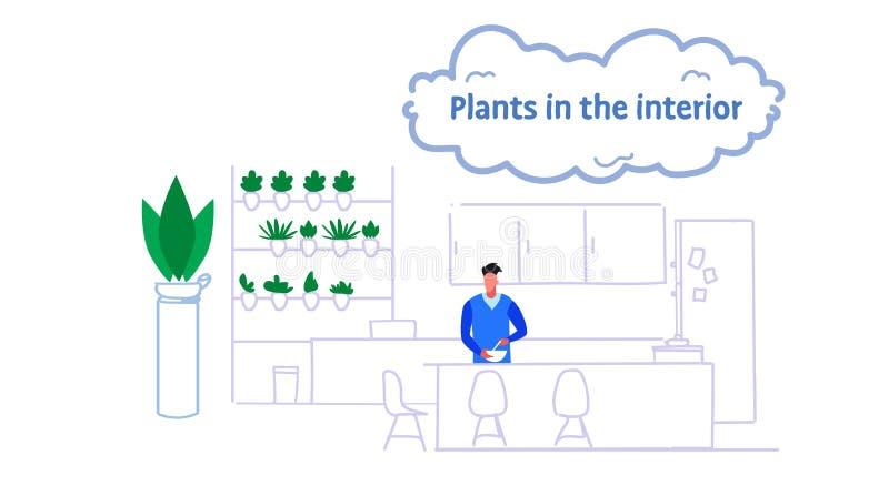 Hombre que prepara la cocina moderna del comedor de la comida interior con las plantas en el flujo masculino del bosquejo del ret ilustración del vector