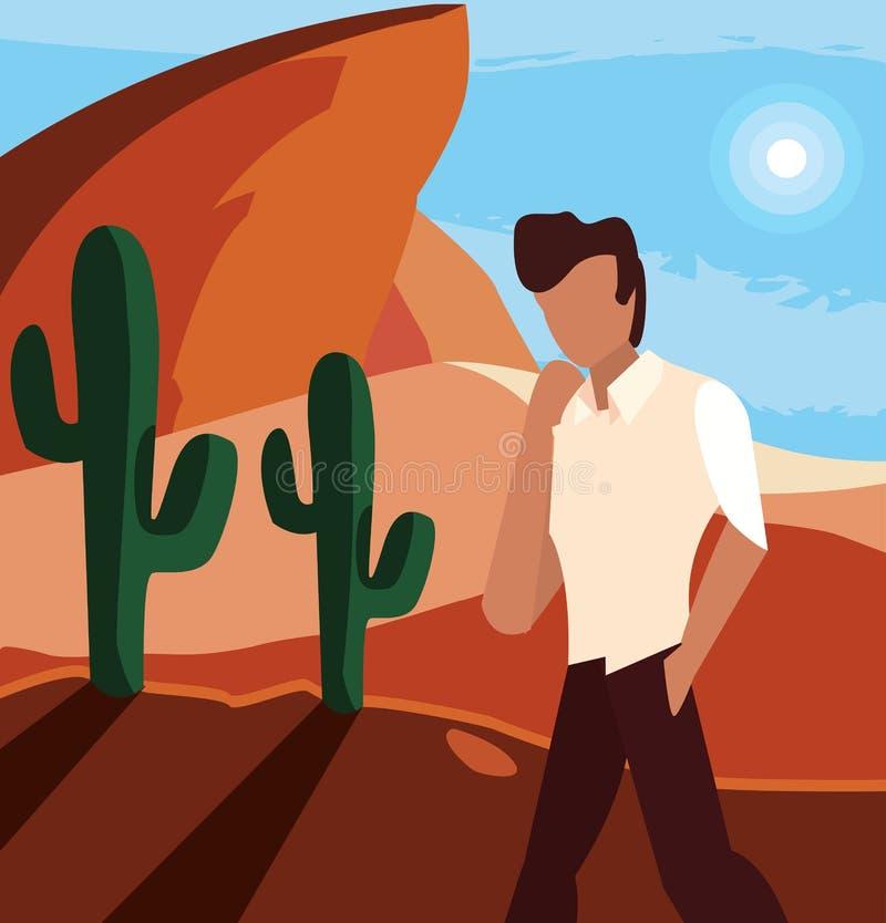 Hombre que presenta en el desierto ilustración del vector