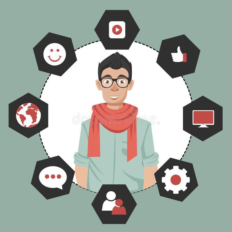 Hombre que presenta a la gesti?n de la relaci?n del cliente Sistema para las interacciones de manejo con los clientes actuales y  libre illustration