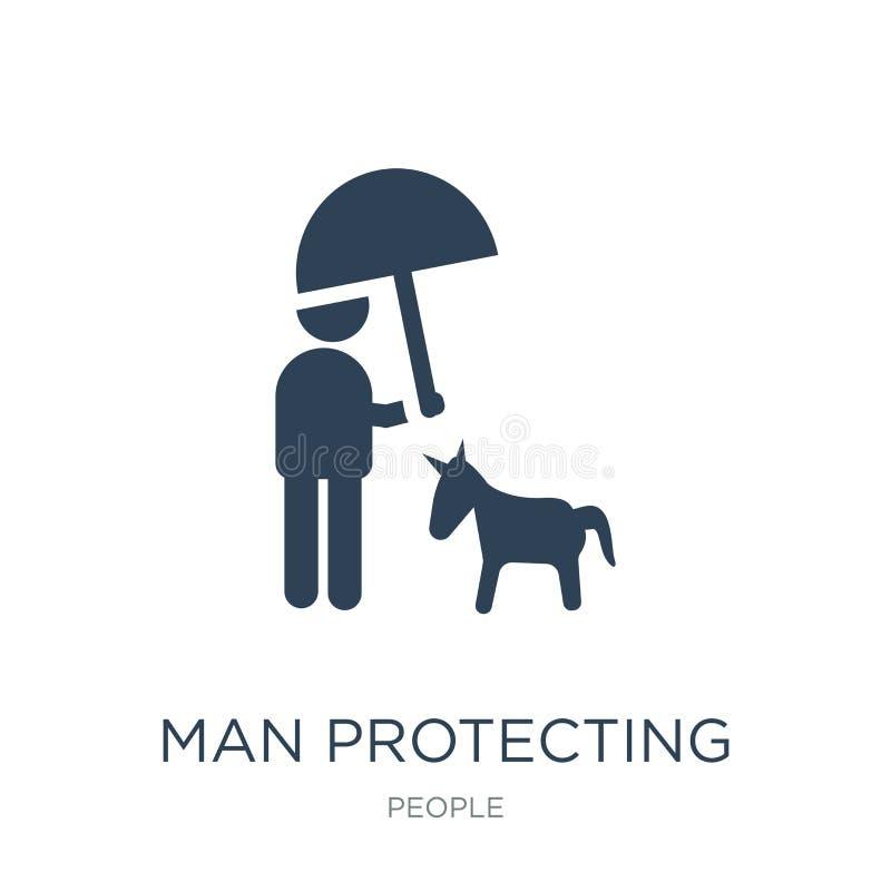 hombre que protege un perro con un icono del paraguas en estilo de moda del diseño hombre que protege un perro con un icono del p stock de ilustración