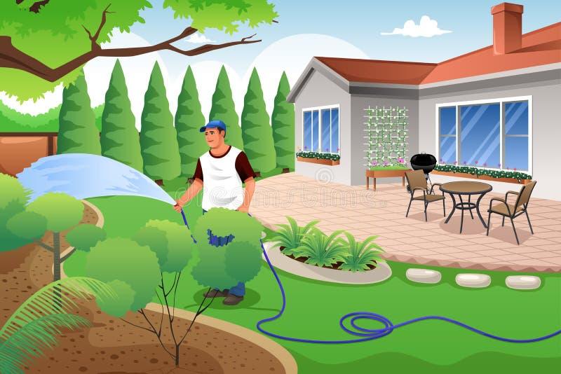 Hombre que riega su hierba y jardín ilustración del vector