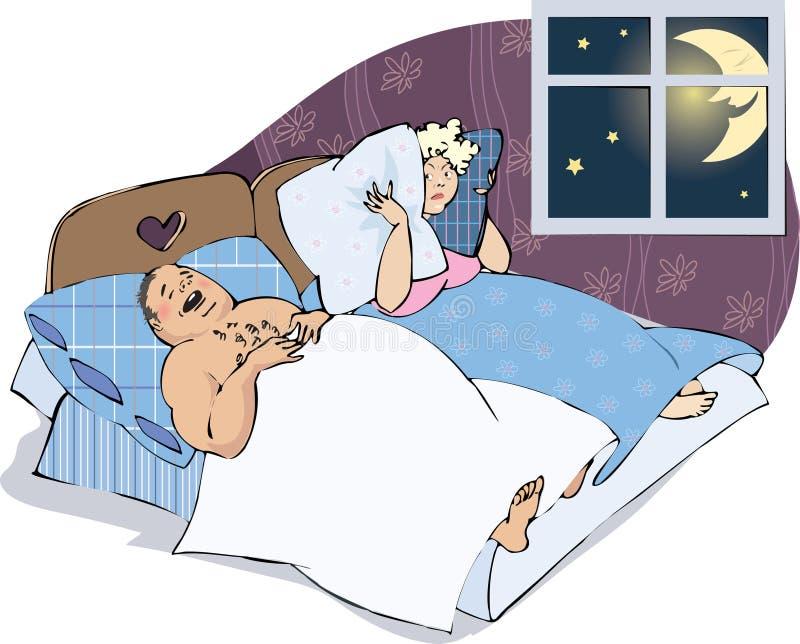 Hombre que ronca con la esposa ilustración del vector