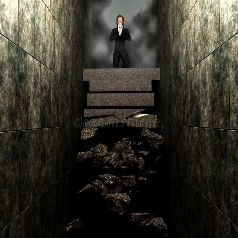 Hombre que ruega en la escalera quebrada ilustración del vector