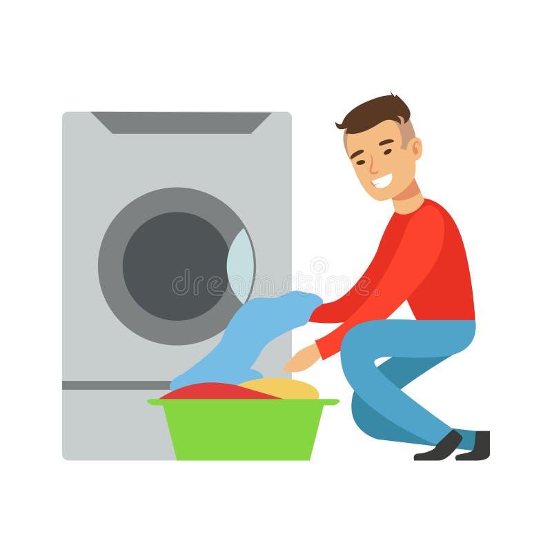 Hombre que saca el lavadero limpio, parte de gente que usa las lavadoras automáticas de la lavandería del autoservicio del vector stock de ilustración
