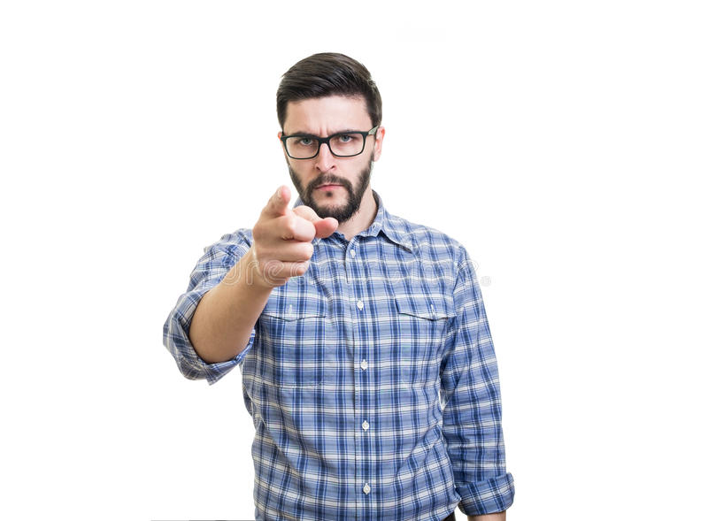 Hombre que señala por el finger fotografía de archivo libre de regalías