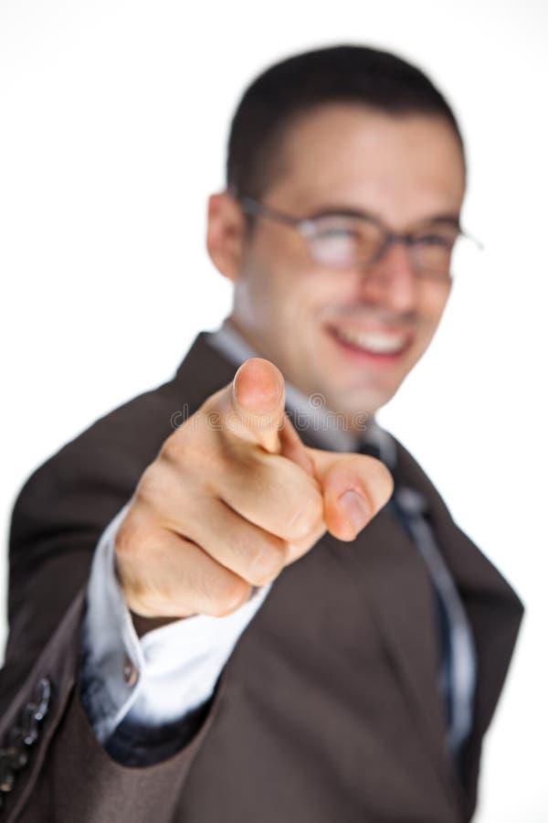 Hombre que señala su dedo imagen de archivo libre de regalías