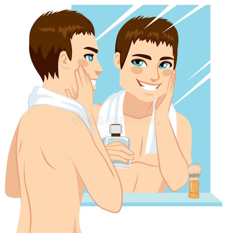 Hombre que se aplica después de afeitado stock de ilustración