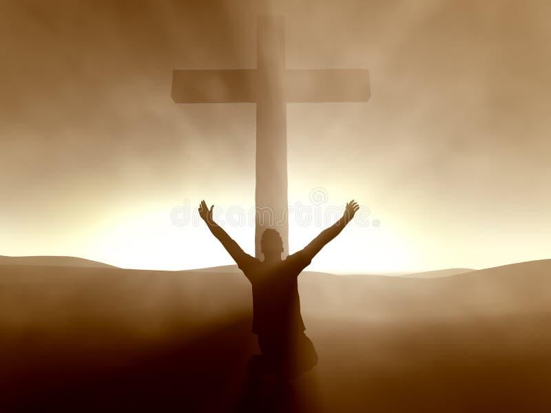 Hombre que se arrodilla en la cruz del Jesucristo imagenes de archivo