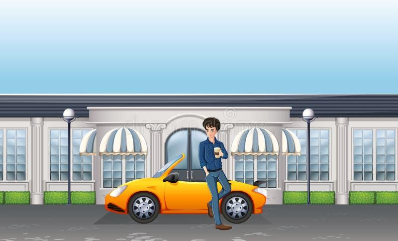 Hombre que se coloca al lado del coche deportivo ilustración del vector