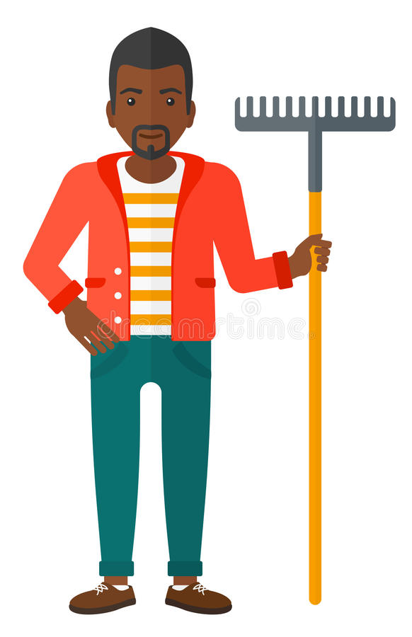 Hombre que se coloca con el rastrillo libre illustration