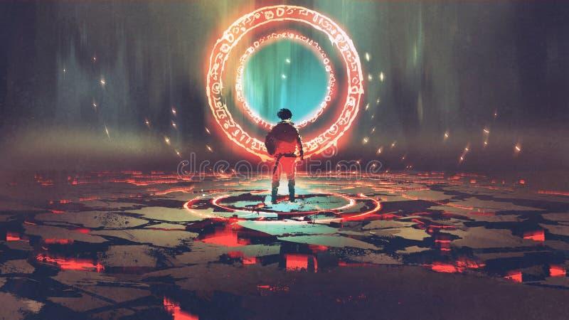 Hombre que se coloca delante de círculo mágico ilustración del vector