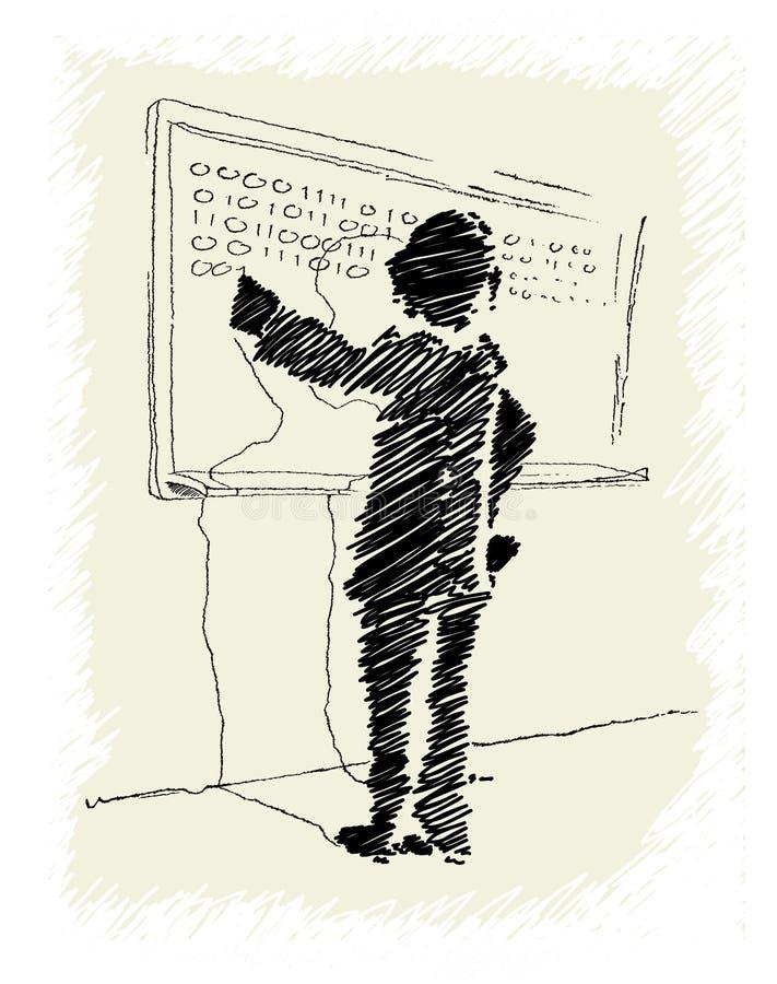 Hombre que se coloca delante de la escritura del whiteboard ilustración del vector