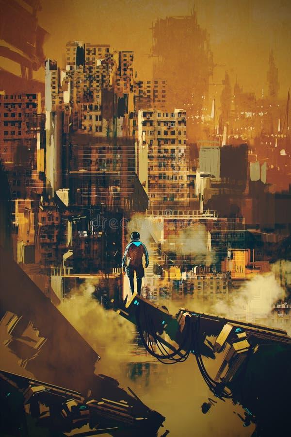 Hombre que se coloca en arquitectura futurista libre illustration