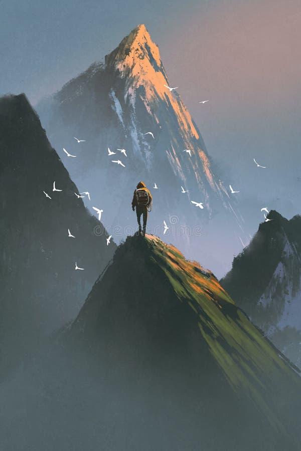 Hombre que se coloca encima de la montaña libre illustration