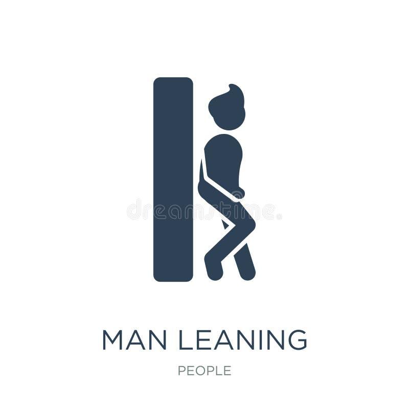 hombre que se inclina contra el icono de la pared en estilo de moda del diseño hombre que se inclina contra el icono de la pared  stock de ilustración