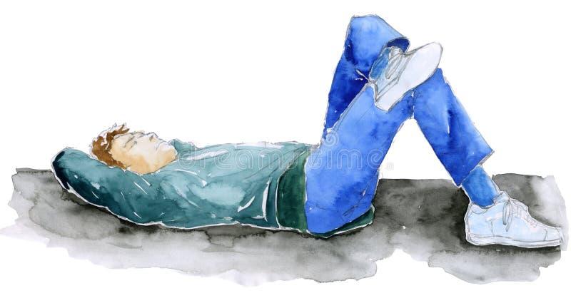 Hombre que se relaja - bosquejo libre illustration