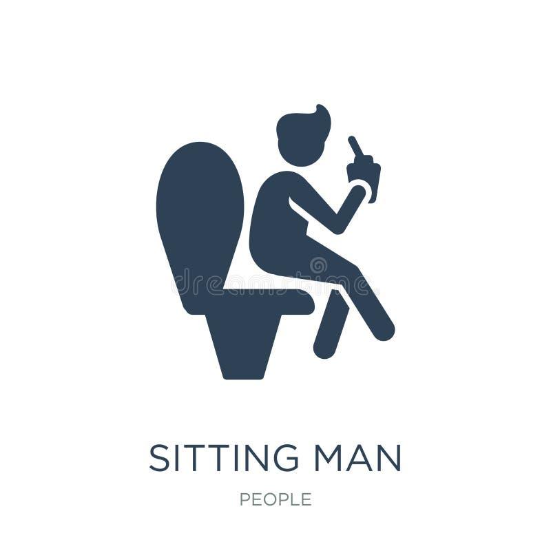 hombre que se sienta que bebe un icono de la soda en estilo de moda del diseño hombre que se sienta que bebe un icono de la soda  stock de ilustración