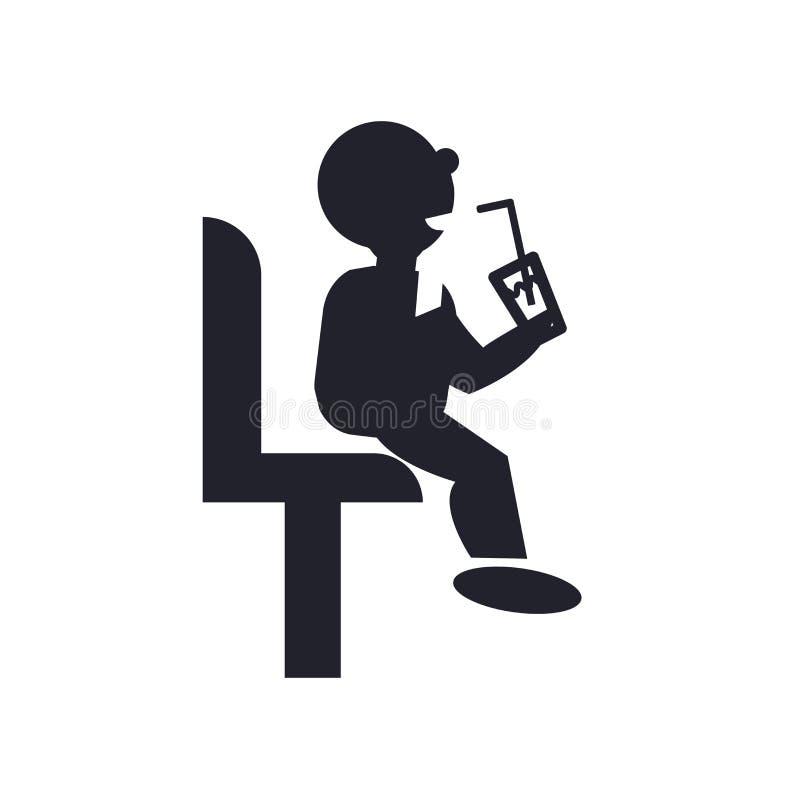 Hombre que se sienta que bebe una muestra y un símbolo del vector del icono de la soda aislados ilustración del vector