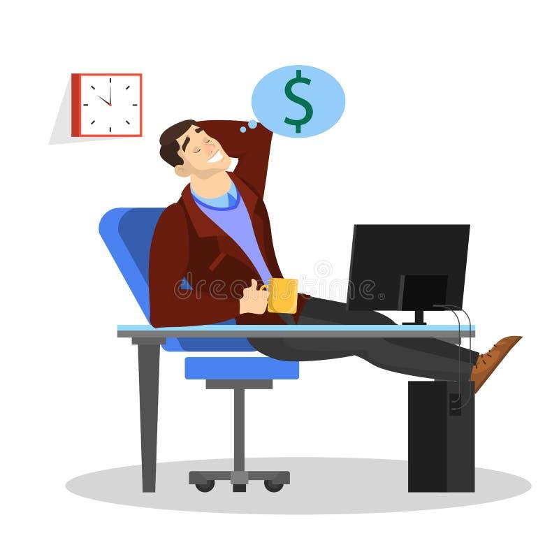 Hombre que se sienta en el escritorio en el trabajo y el sueño sobre el dinero stock de ilustración