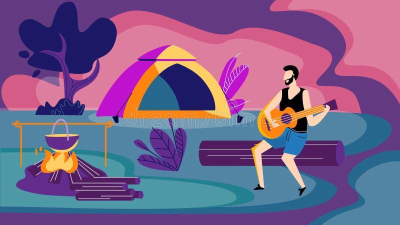 Hombre que se sienta en la hoguera en la noche que toca la guitarra libre illustration