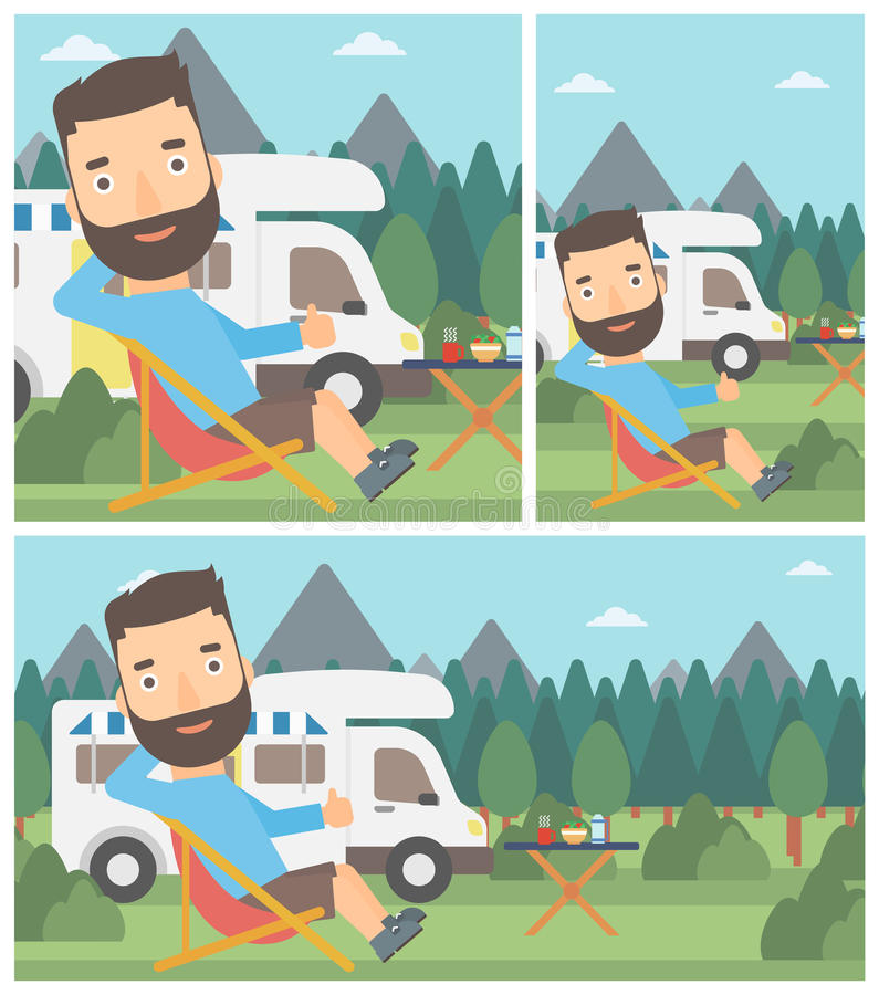 Hombre que se sienta en silla delante de la autocaravana libre illustration