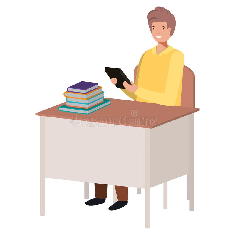 Hombre que se sienta en silla y escritorio de la escuela usando la tableta stock de ilustración