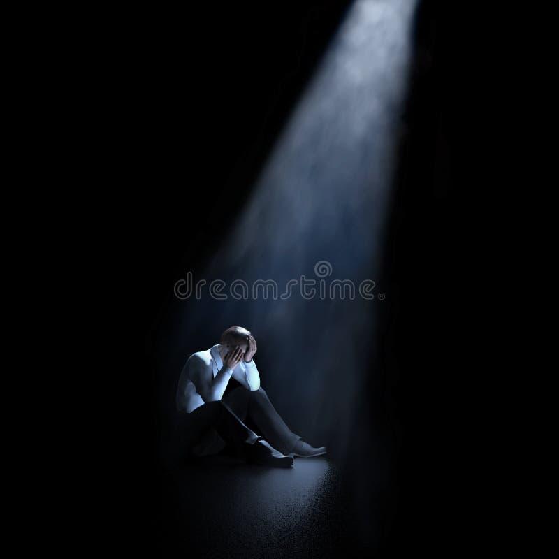 Hombre que se sienta en un cuarto oscuro libre illustration