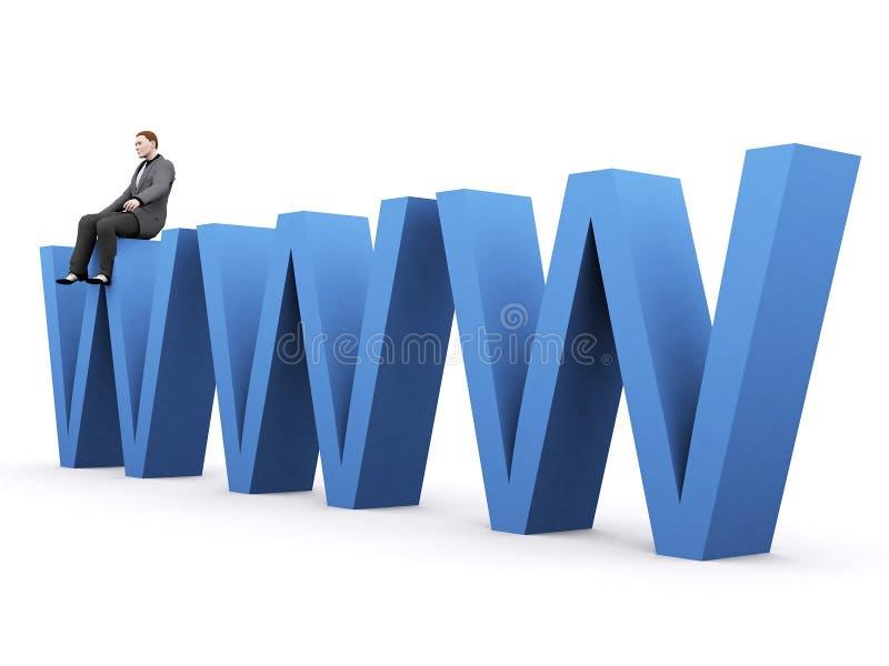 Hombre que se sienta en WWW stock de ilustración