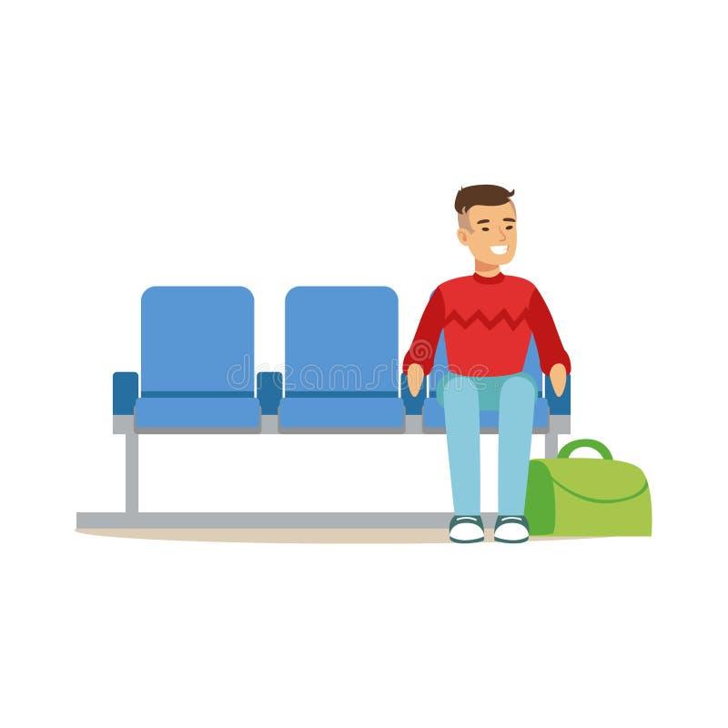 Hombre que se sienta en zona de espera, la parte del aeropuerto y la serie relacionada de las escenas del transporte aéreo de eje ilustración del vector