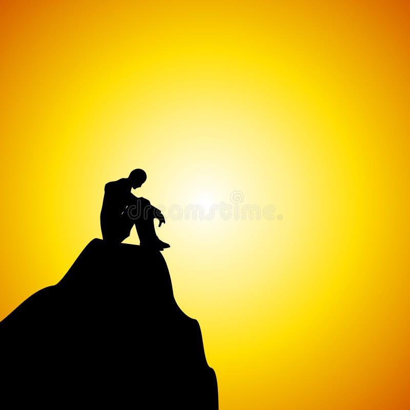 Hombre que se sienta solamente en la montaña en la puesta del sol stock de ilustración